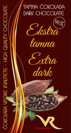 Čokolada bez saharoze obična 96% kakao