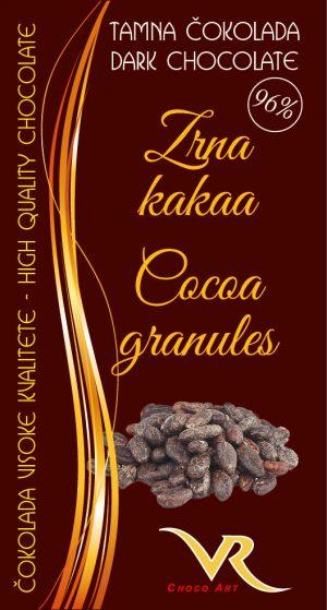 Čokolada bez saharoze obična 96% kakao i kava